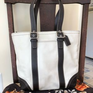 Authentic Coach Tote White and Brown Leather